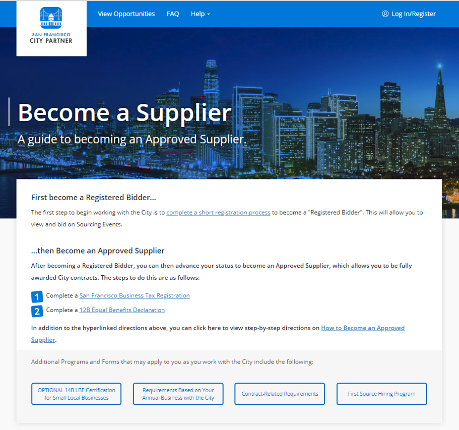 How To Become A City Supplier San