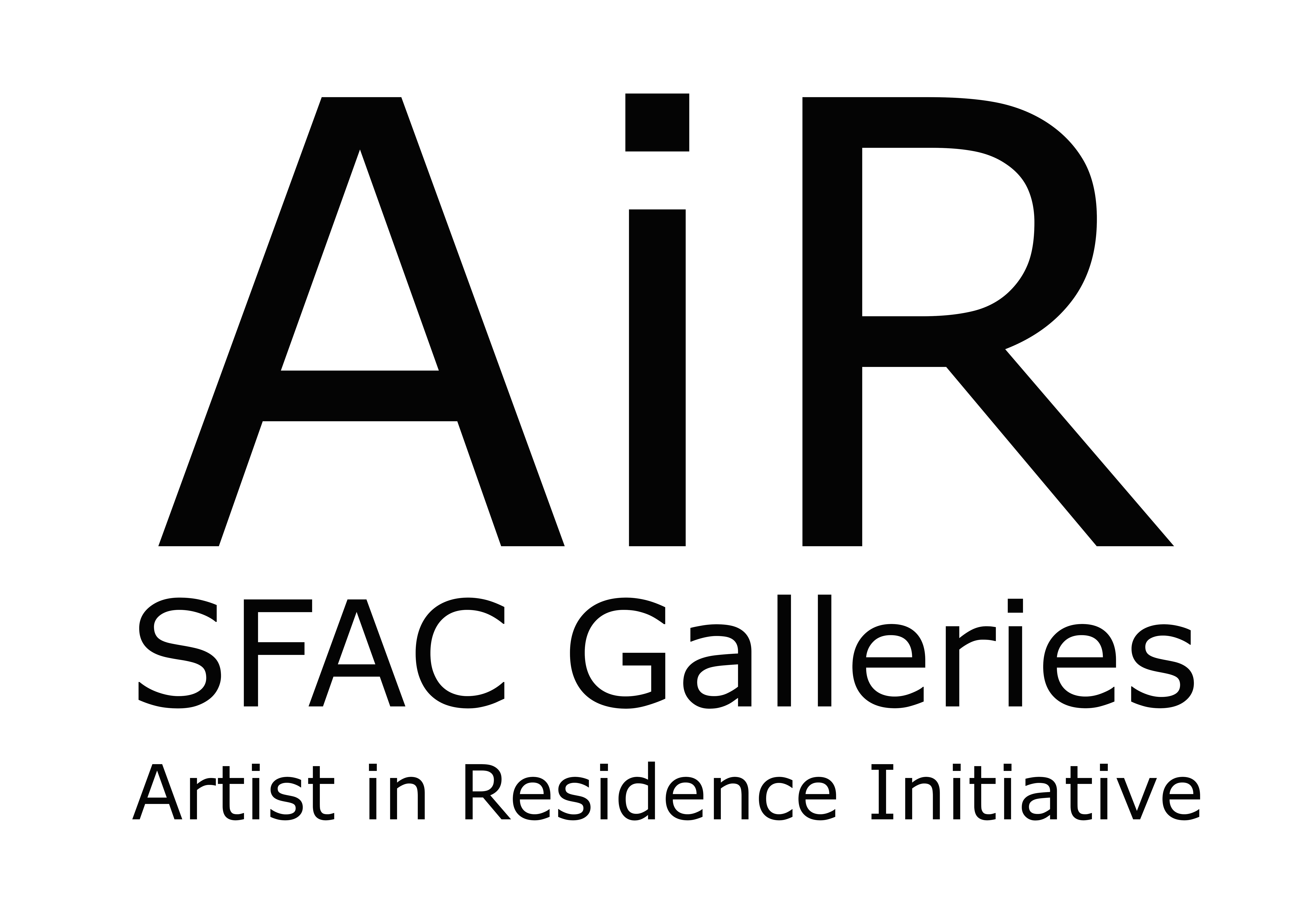 "Simple graphic that says ""AiR"" and ""SFAC Galleries"" ""Artist in Residence"""