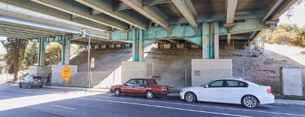 Street view of freeway underpass