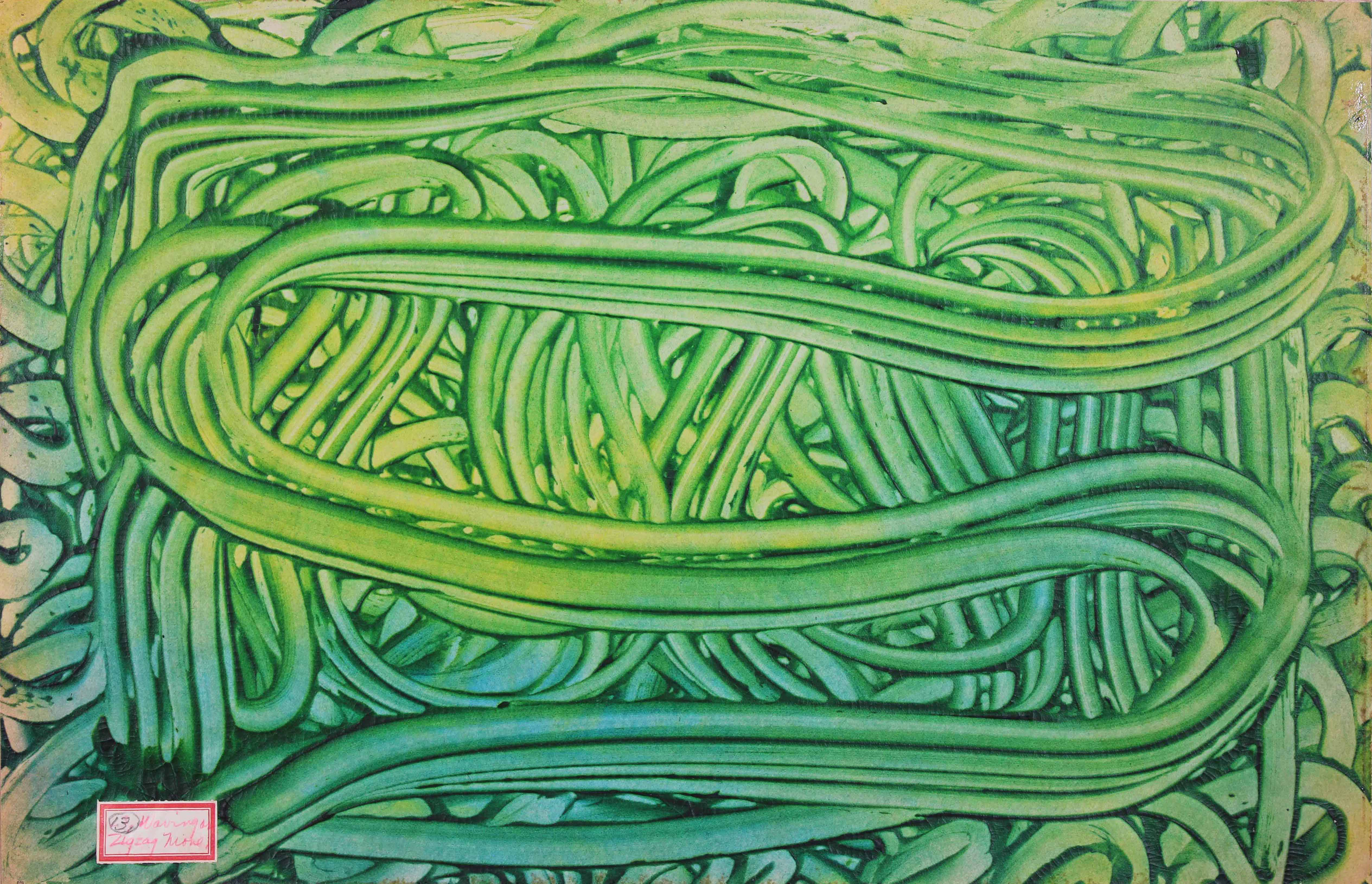 finger painting with green paint