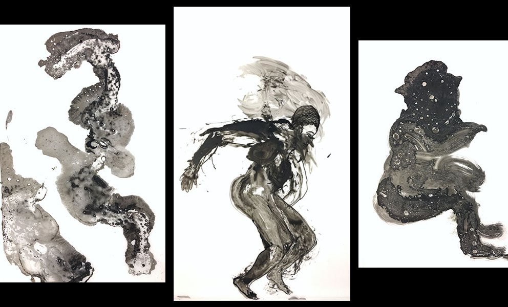 three abstracted drawings made with black india ink