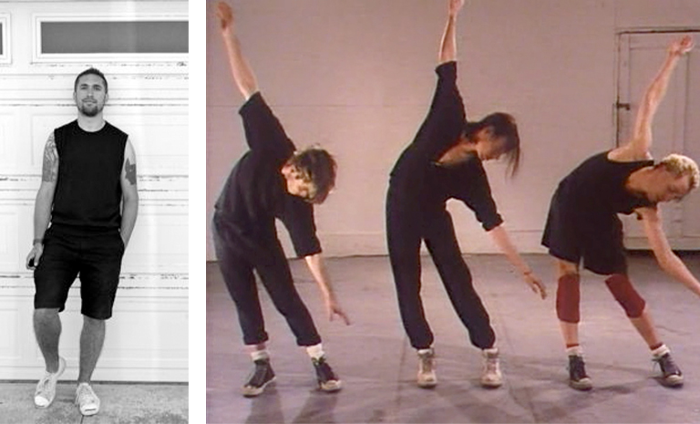 Two images. One with man leaning against building and one with three men dancing in studio