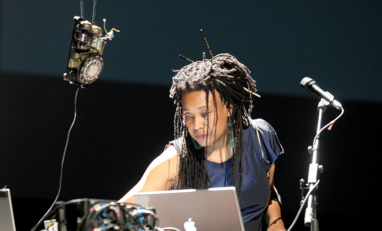 Pamela Z performing at Ars Electronica in Linz, Austria