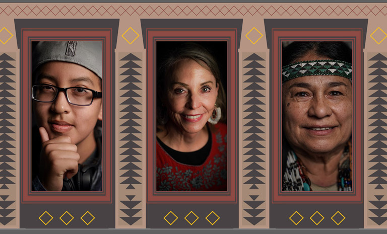A triptych featuring three members of the Bay Area's Native American Community including Supervisor Vallie Brown