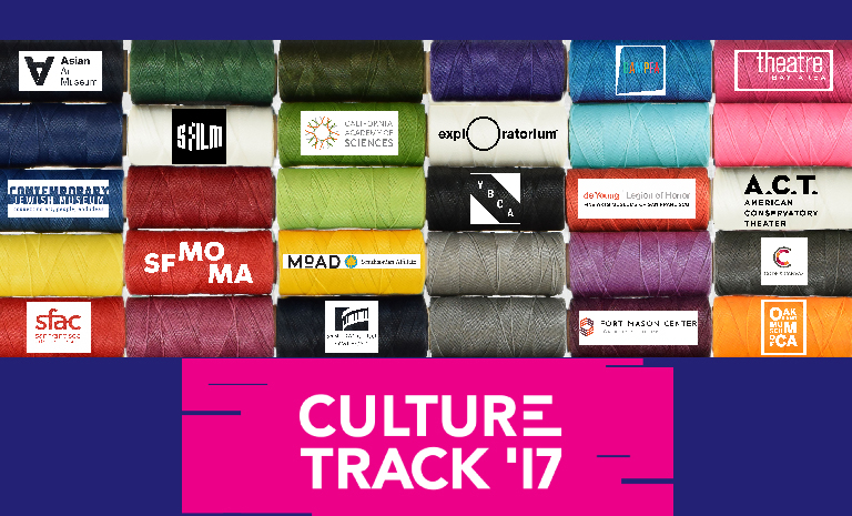 Colorgul spools of yarn featuring logos for Bay Area non-profit arts orgs and the title Culture Track '17 on a pink background.