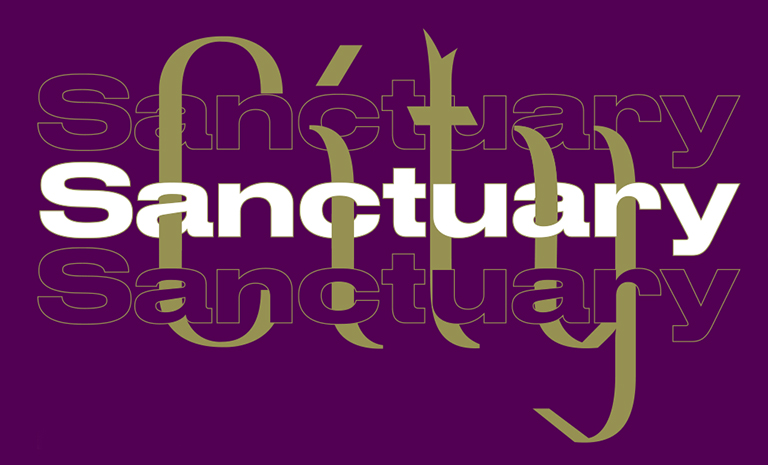 Purple background with overlapping words that read Sanctuary City