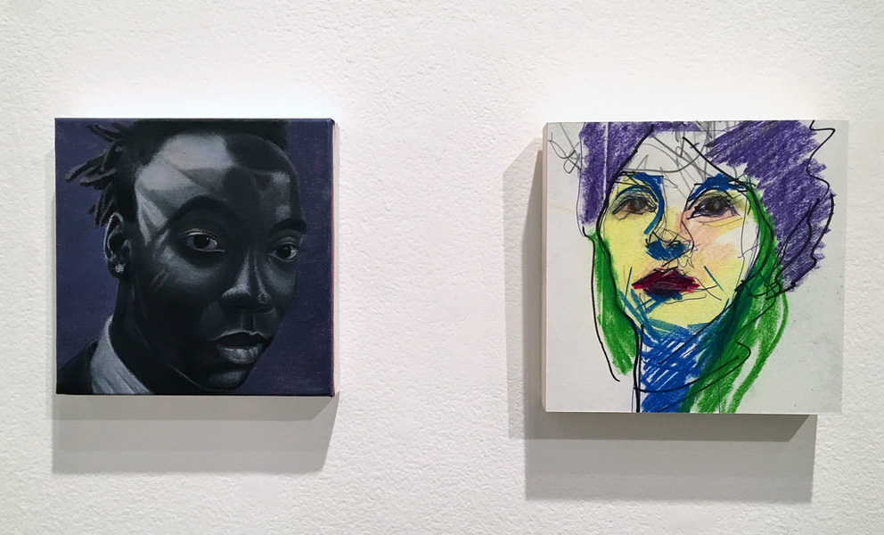 Left image is a portrait of an African American and on the right is a portrait of a woman rendered in vivid greens, blues and purples.