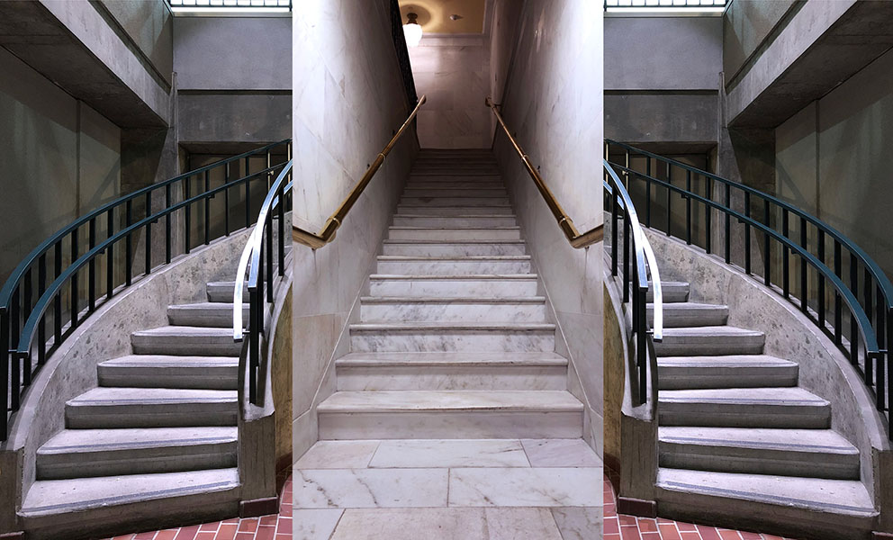 3 images of stairwell's in SF City Hall