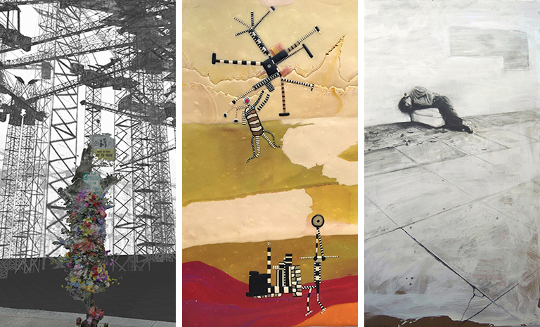 three images of work by the three artists