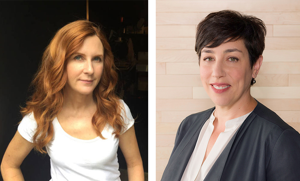 On the left, an image of a woman with long red hair and on the right, an image of a woman with short brown hair.