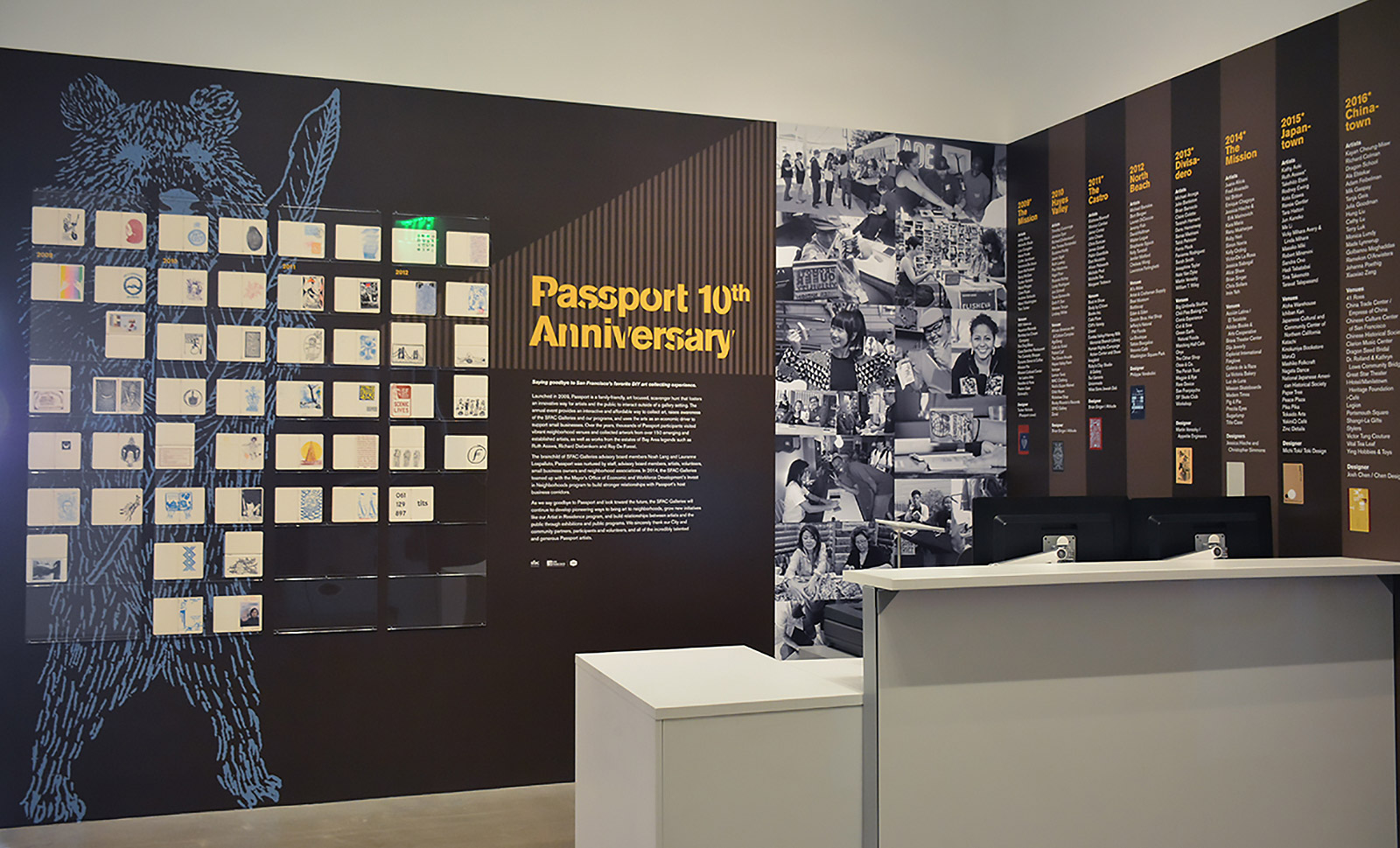 SFAC Main Gallery exhibit: 9 years of Passport event stamps