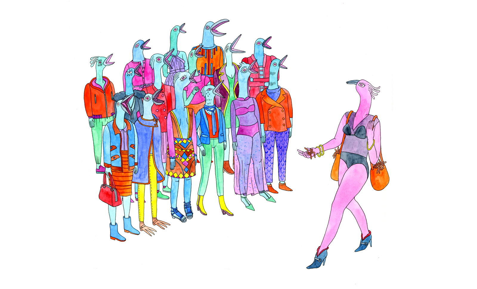 Brightly colored bird-human figures in a chorus grouping with beaks open as a bikini clad bird-human walks by.