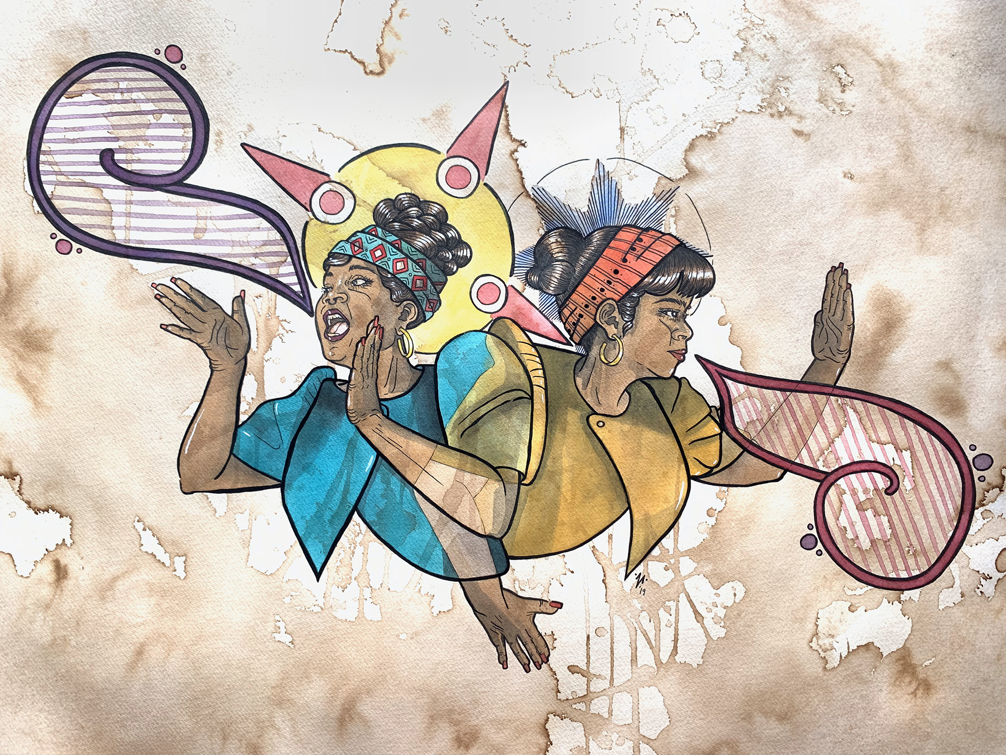 An illustration featuring two women, with their backs to each other, each facing the opposite direction. One, on the left in blue, has her mouth open as if sending out a call. The other in yellow, has one arm outstretched