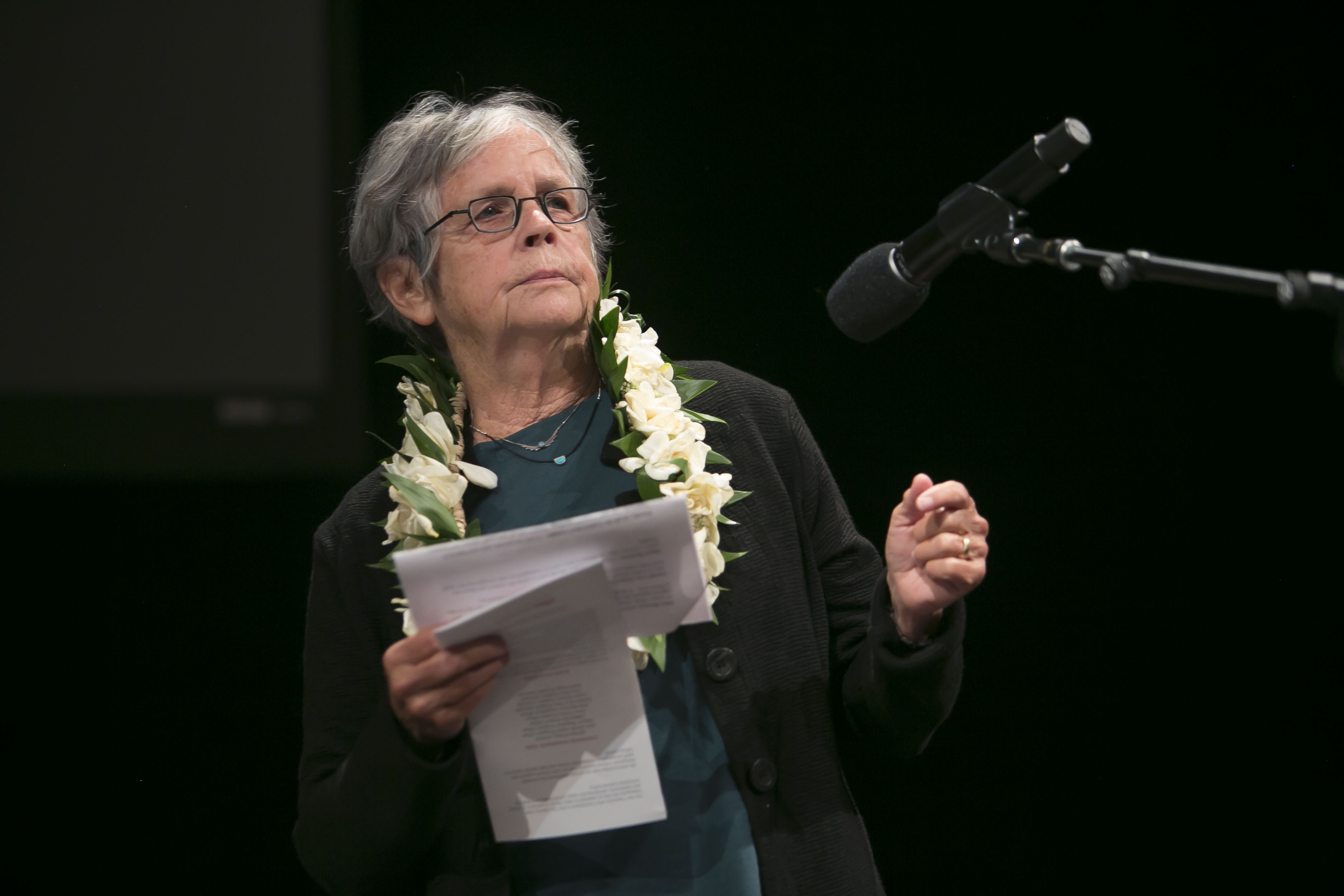 2019 Awardee Joan Pinkvoss reads onstage at the 2019 Annual Grants Convening.