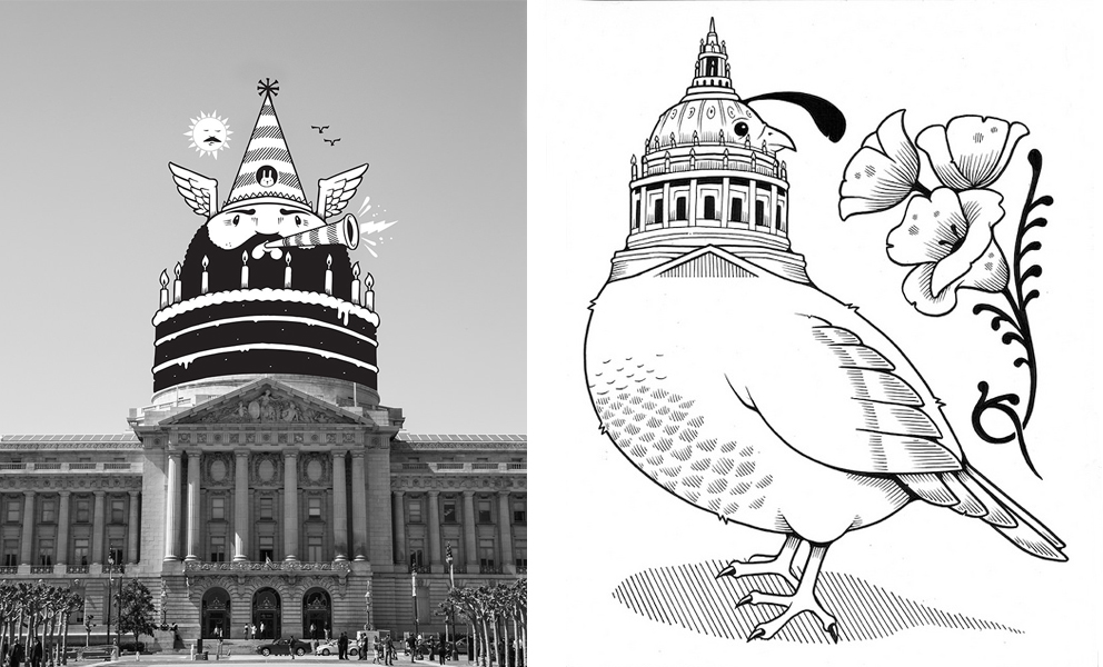 Left: Drawing of head on top of City Hall dome Right: City Hall dome is the head of a quail, the state bird