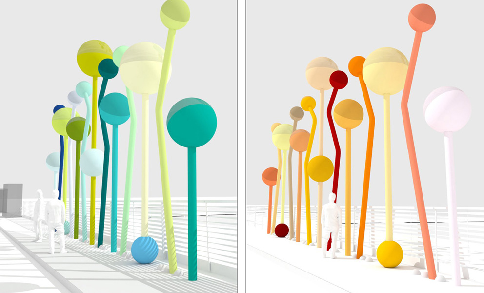 colorful site specific street sculpture by Jorge Pardo