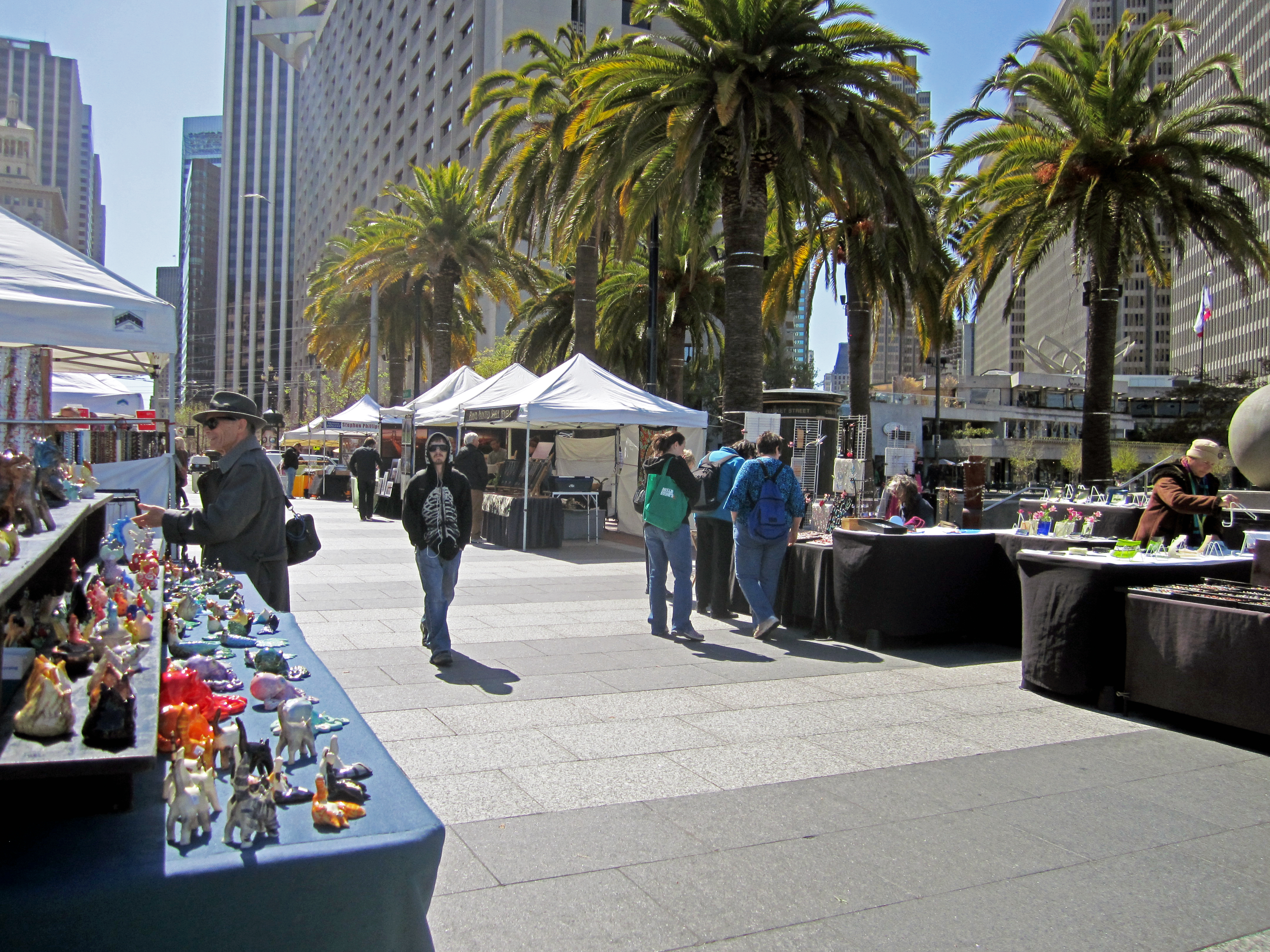 view of street artist booths at Justin Herman Plaza