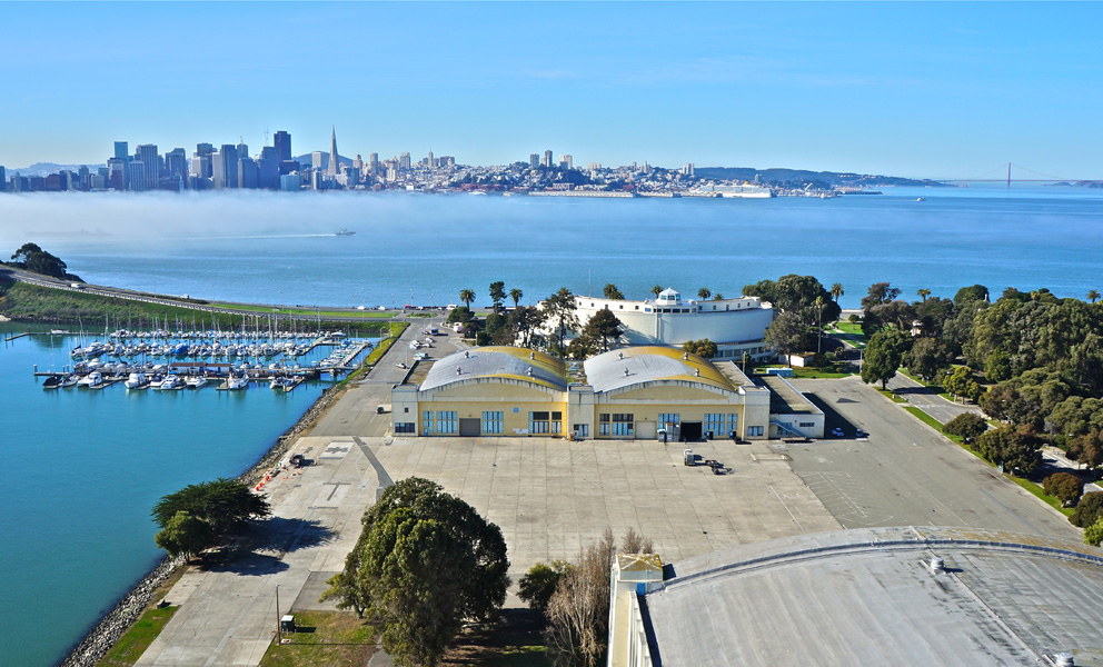 Aerial photo of Treasure Island with a veiw of Downtown San Francisco