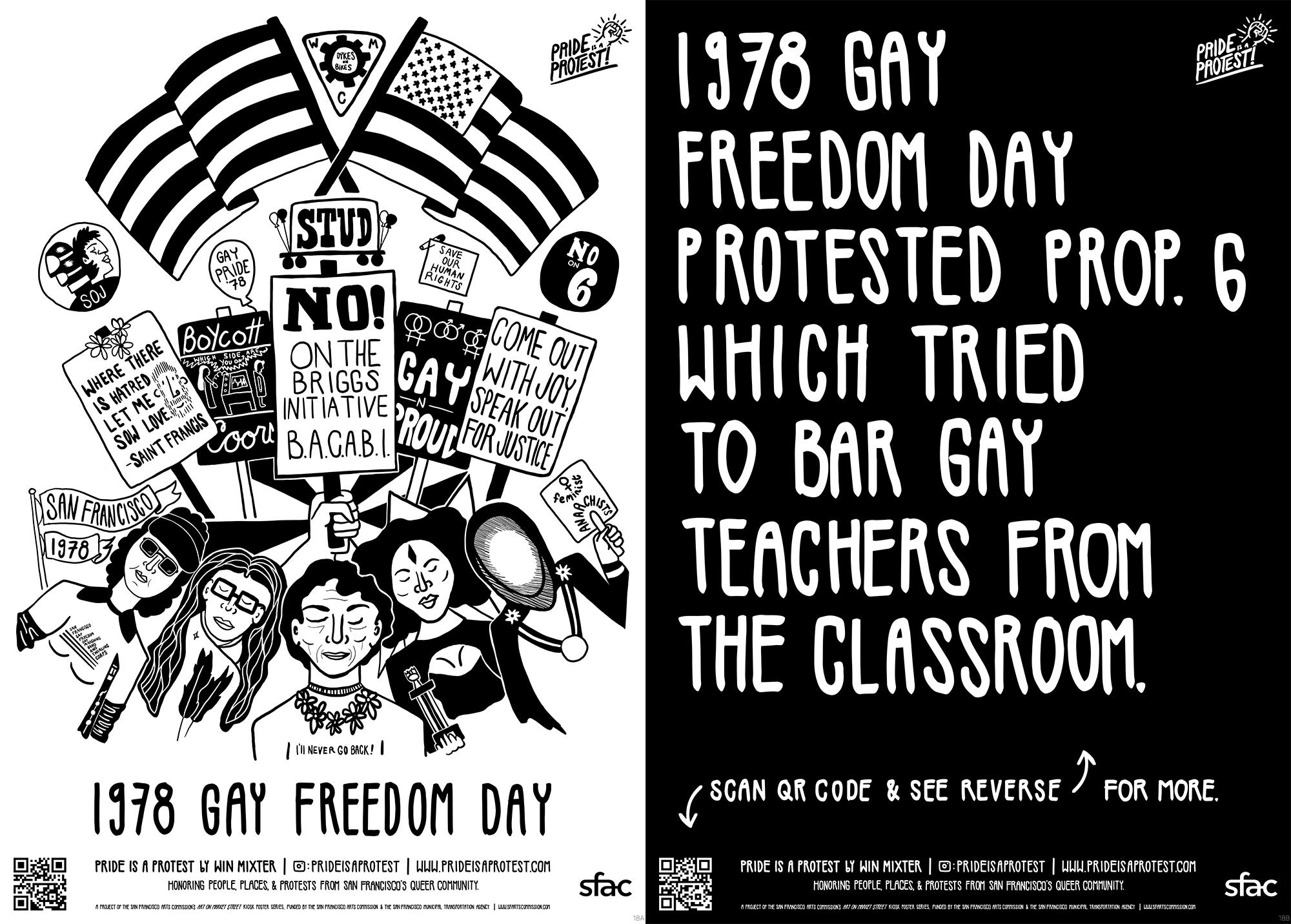 Black and White Art poster design in muni bus kiosk. 1978 Gay Freedom Day Parade