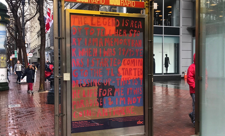 Text-based poster series in bus kiosk on Market Street