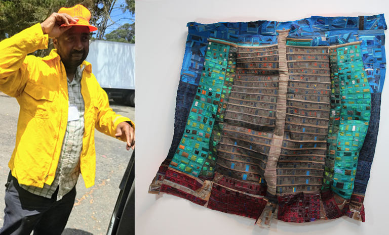 A portrait of artist Mansur Nurullah alongside an image of his textile work.