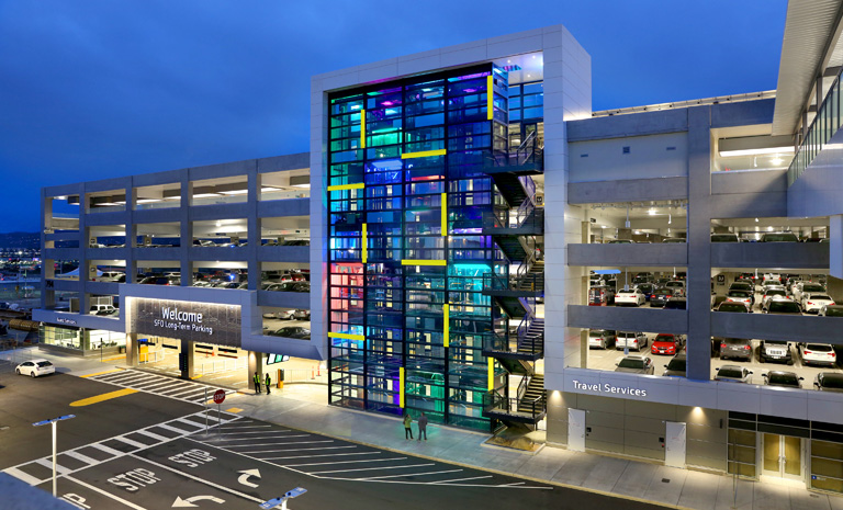 SFO Long-term parking garage with site-specific light installation