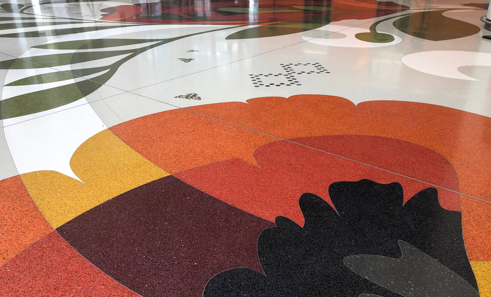 A detail of Julie W. Chang's terrazo floor at the Salesforce Transit Center