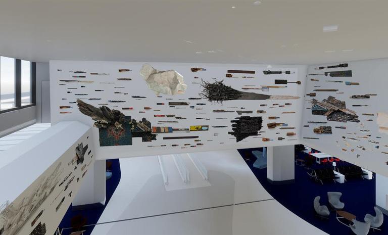 An installation using recycled materials by Leonardo Drew for SFO Harvey Milk Terminal 1