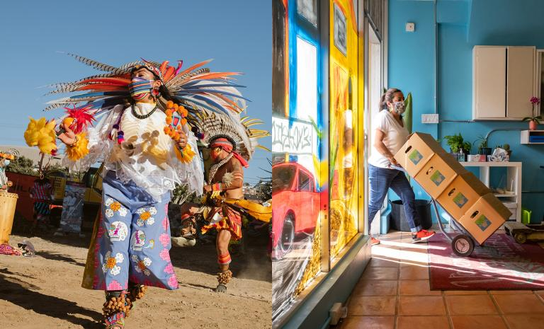 A split image. On the left is a dancer in full Aztec regalia performing outside. On the right is a masked man wheeling in boxes of donated food on a dolly.