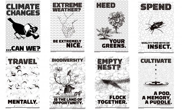 A grouping of eight posters with tongue in cheek phrasing centered around the environment