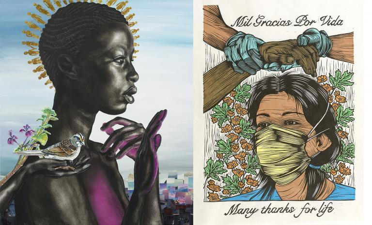 On the left: an image by Nicole Dixon of a Black woman with holding up her hands and a bird on her shoulder. On the right: an image by Juan R. Fuentes of a woman wearing a mask, under gloved hands holding another person's hands.