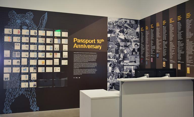 SFAC Main Gallery exhibit: 9 years of Passport event stamps