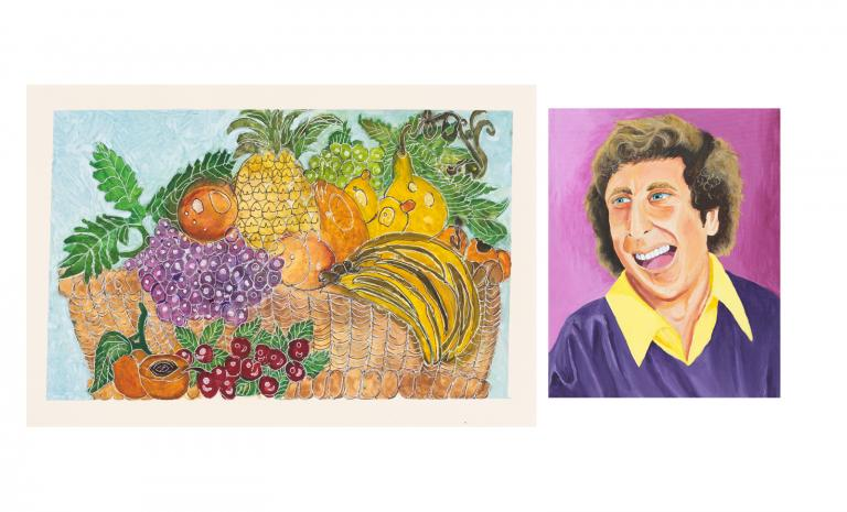 A colorful drawing of fruit and a portrait of Gene Wilder with a violet backdrop