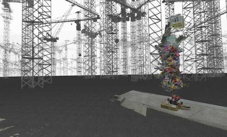A virtual reality world in a landscape surrounded by cranes, in the foreground is a street sign covered with flowers