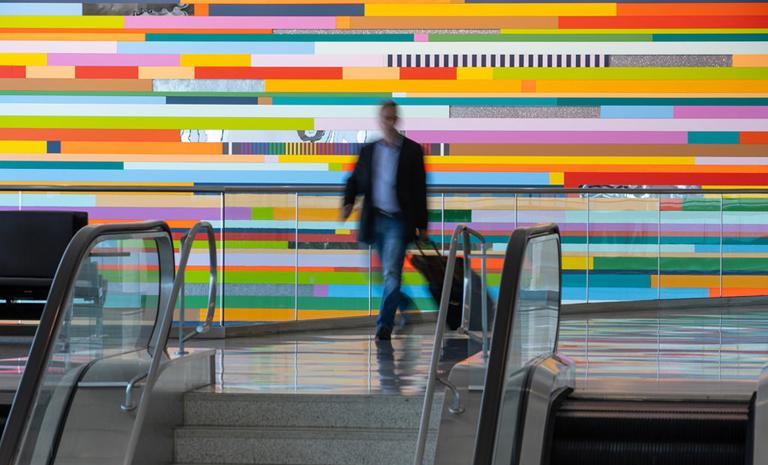 Leah Rosenberg's multi-colored installation at SFO