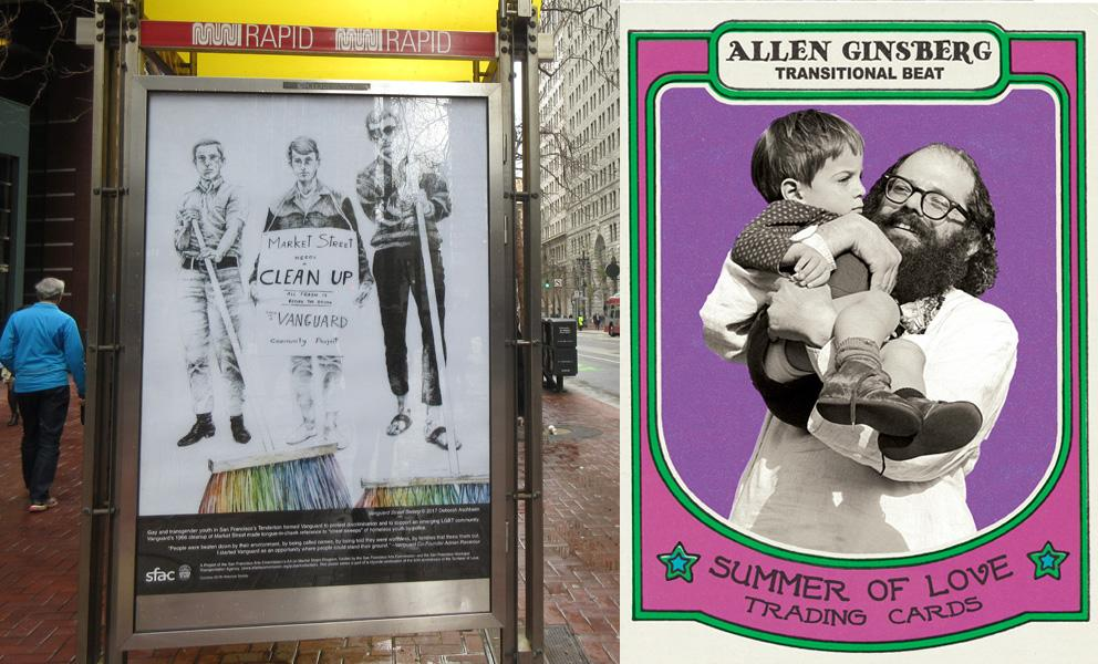 """Two images: Market St. poster depicting protesters in an actual bus kiosk and a close up of a Market St. Poster """"trading card"""" with Allen Ginsburg holding a child"""