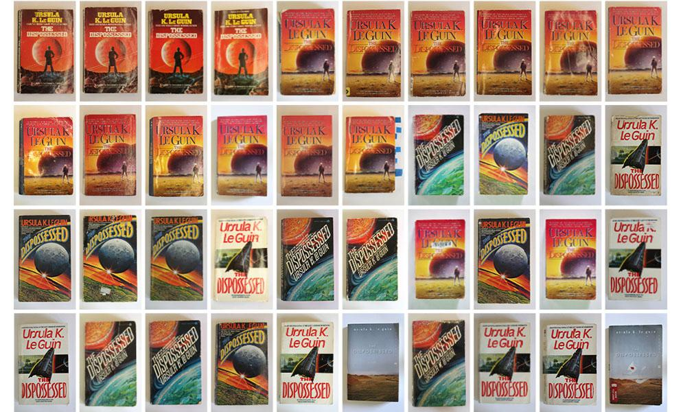 A grid of used The Dispossessed paperback book