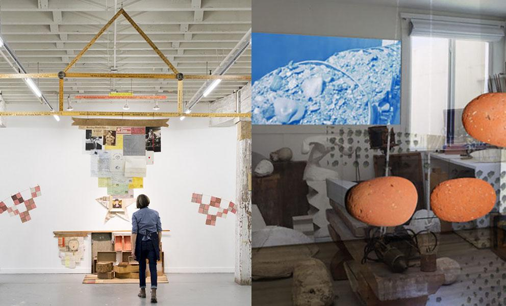 image on left of artist in her installation. image on right of artists studio.