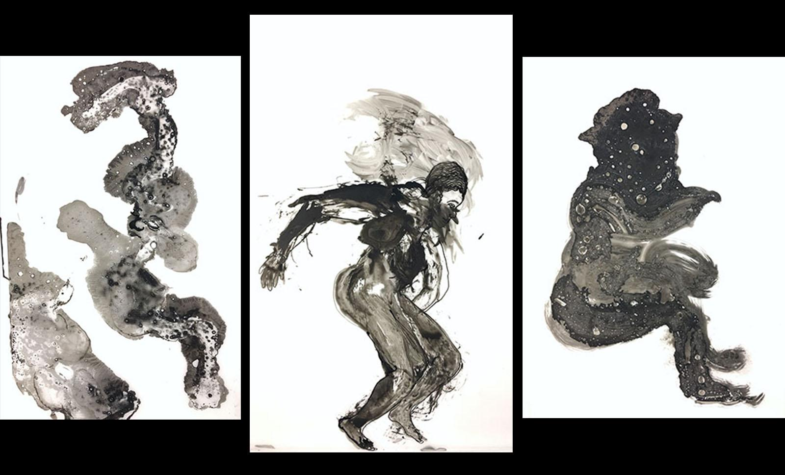 three abstract black figures