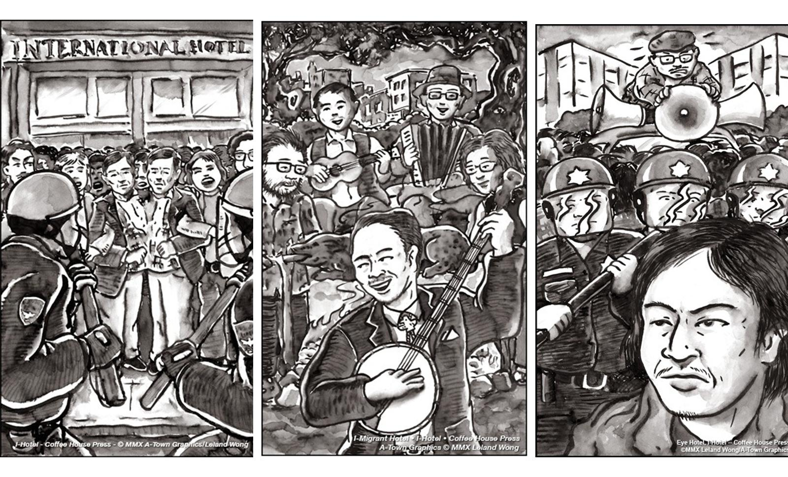 Three Chinese ink illustrations depicting the life and protests around the I Hotel