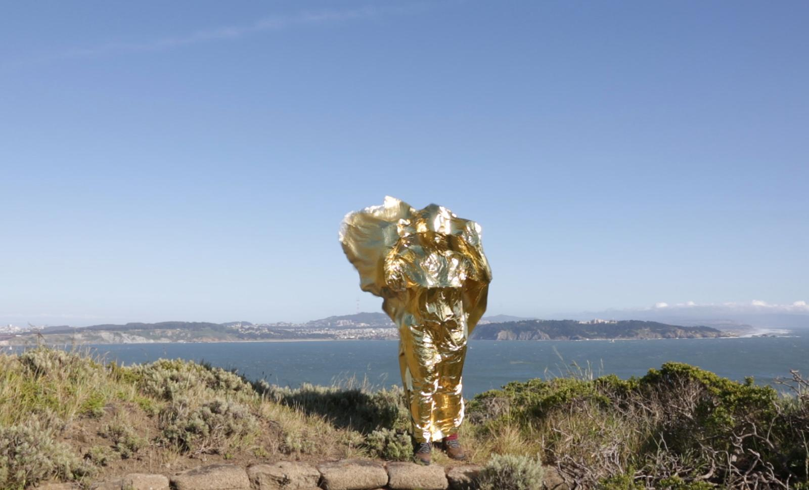 A figure holding up a gold emergency blanket, covering the whole body, stands on a hill overlooking the water