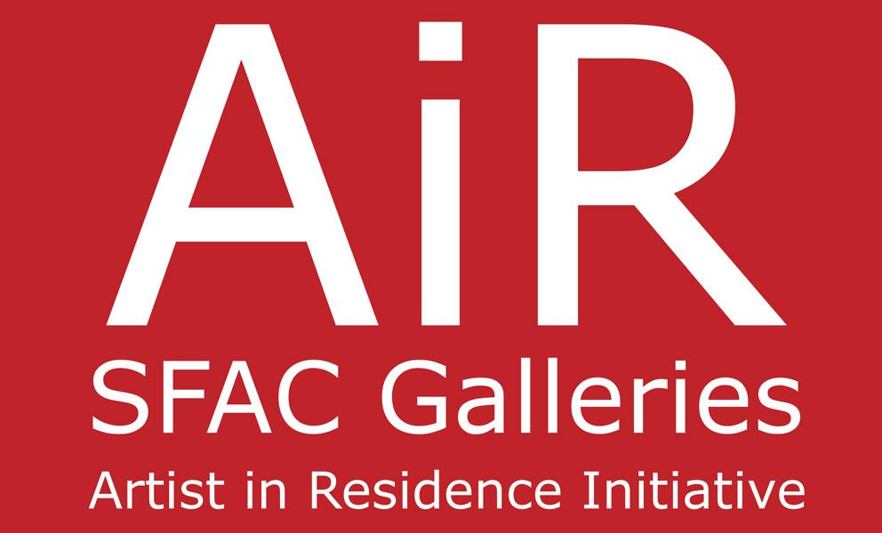 "Red square with the words ""AiR"" SFAC Galleries Artist in Residence Initiative"