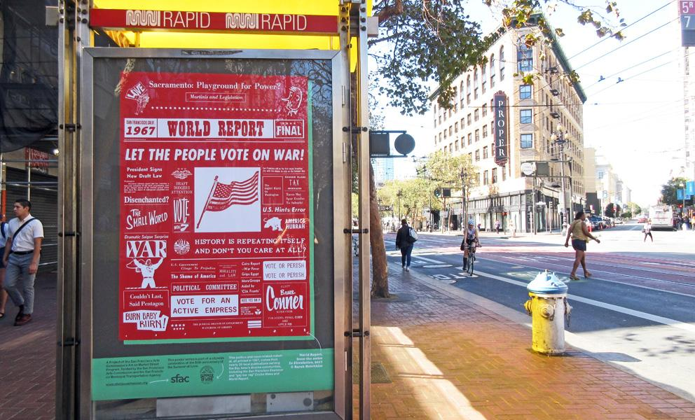Market Street Poster, predominately red with text that features historic headlines and images printed in publications from 1967.