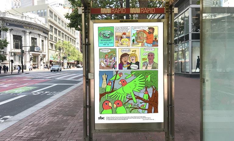 Kate Rhoades Market Street Poster in a bus kiosk