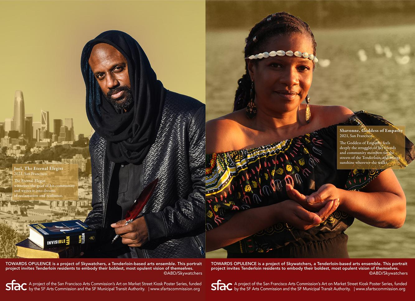 Side by side posters from The Opulence Project. On the left is a black man, wearing all black, with a scarf over his head, looking forward and holding books and a quill. On the right is a black woman wearing a patterned off the shoulder top, looking forward with both her hands cupped holding something. She wears a cowrie headband.